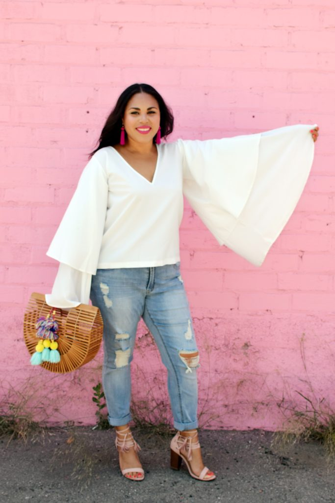 bell sleeves and boyfriend jeans