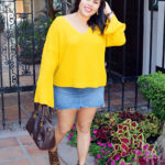 yellow bell sleeved sweater