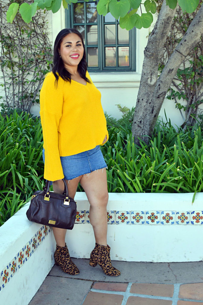 yellow bell sleeve sweater with leopard print boots