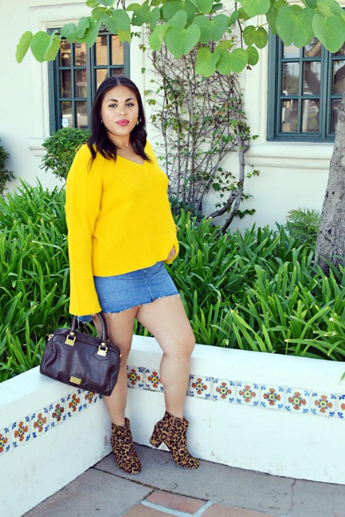 yellow bell sleeve sweater