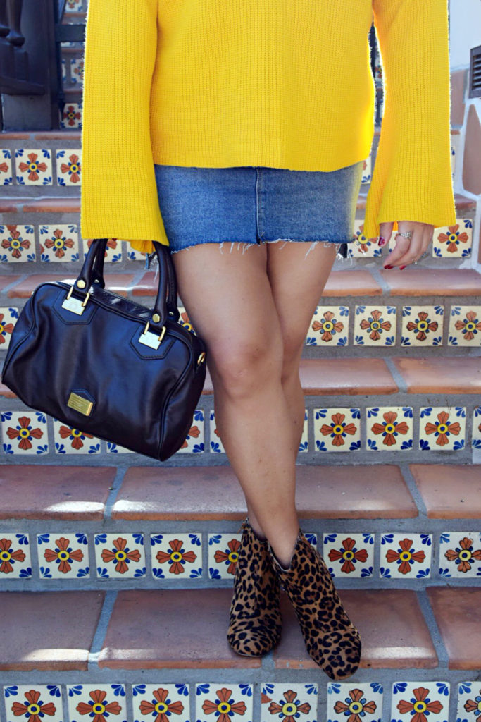 yellow bell sleeve sweater leopard print booties