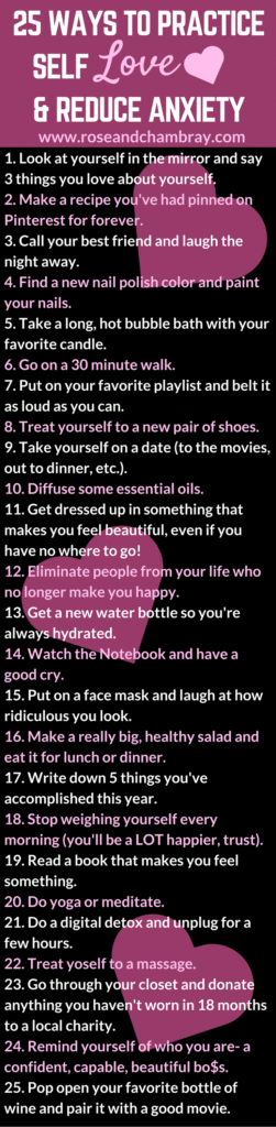 25 ways to practice self care anxiety