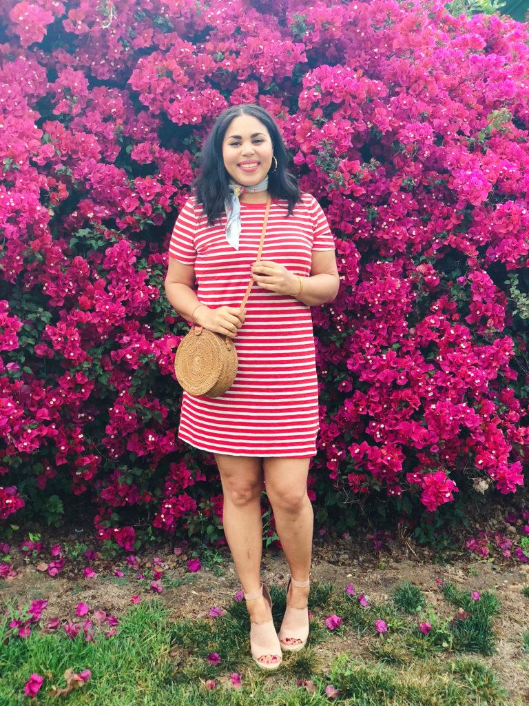 red striped dress