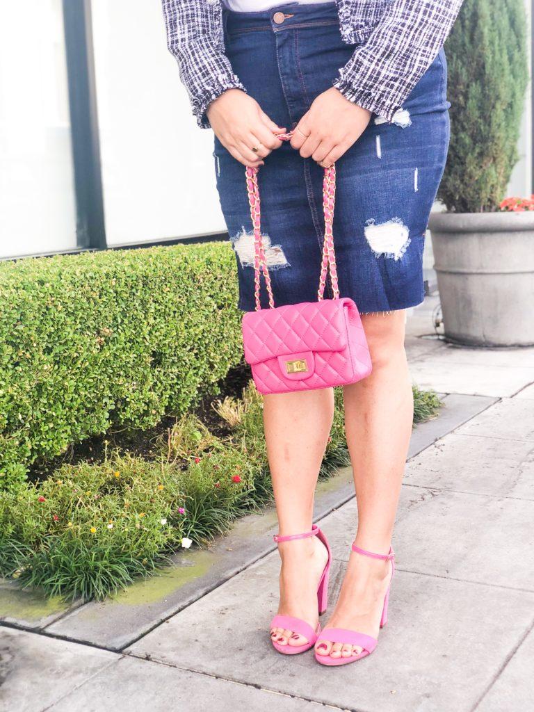 tweed blazer barbie shirt denim skirt