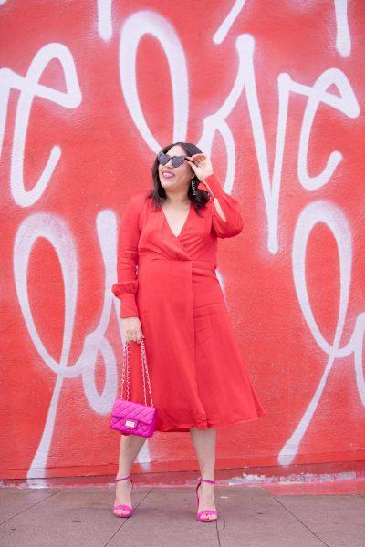 red dress at culver city love wall