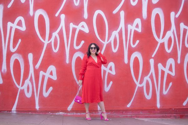 red dress at culver city love wall