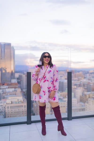 what to wear in spring burgundy otk boots and pink dress downtown los angeles