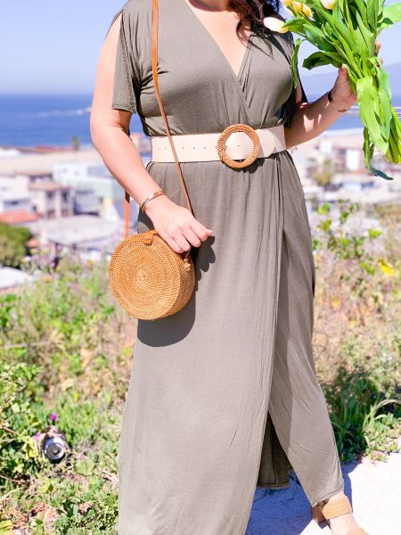 green maxi dress with Rattan, Bamboo and Straw Accessories