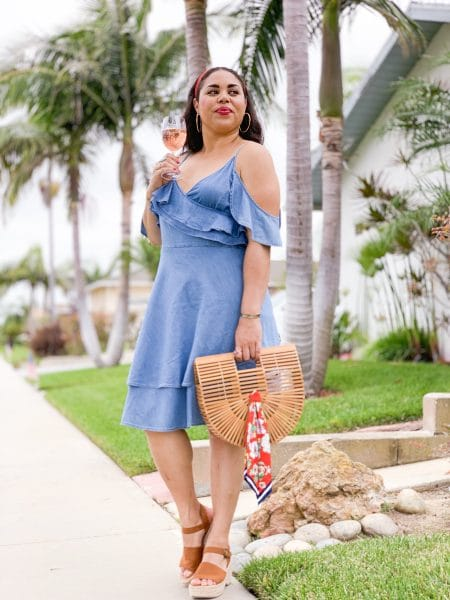 ruffle midi chambray dress