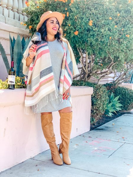 fall over the knee boots, dress and poncho
