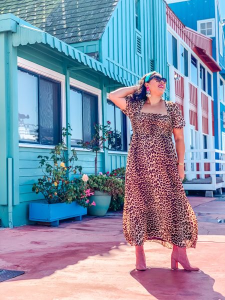 leopard print maxi dress, pink booties, teal headband