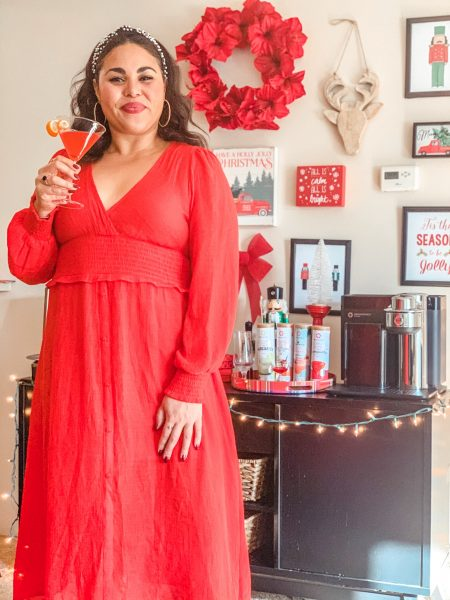 red dress holiday decorations