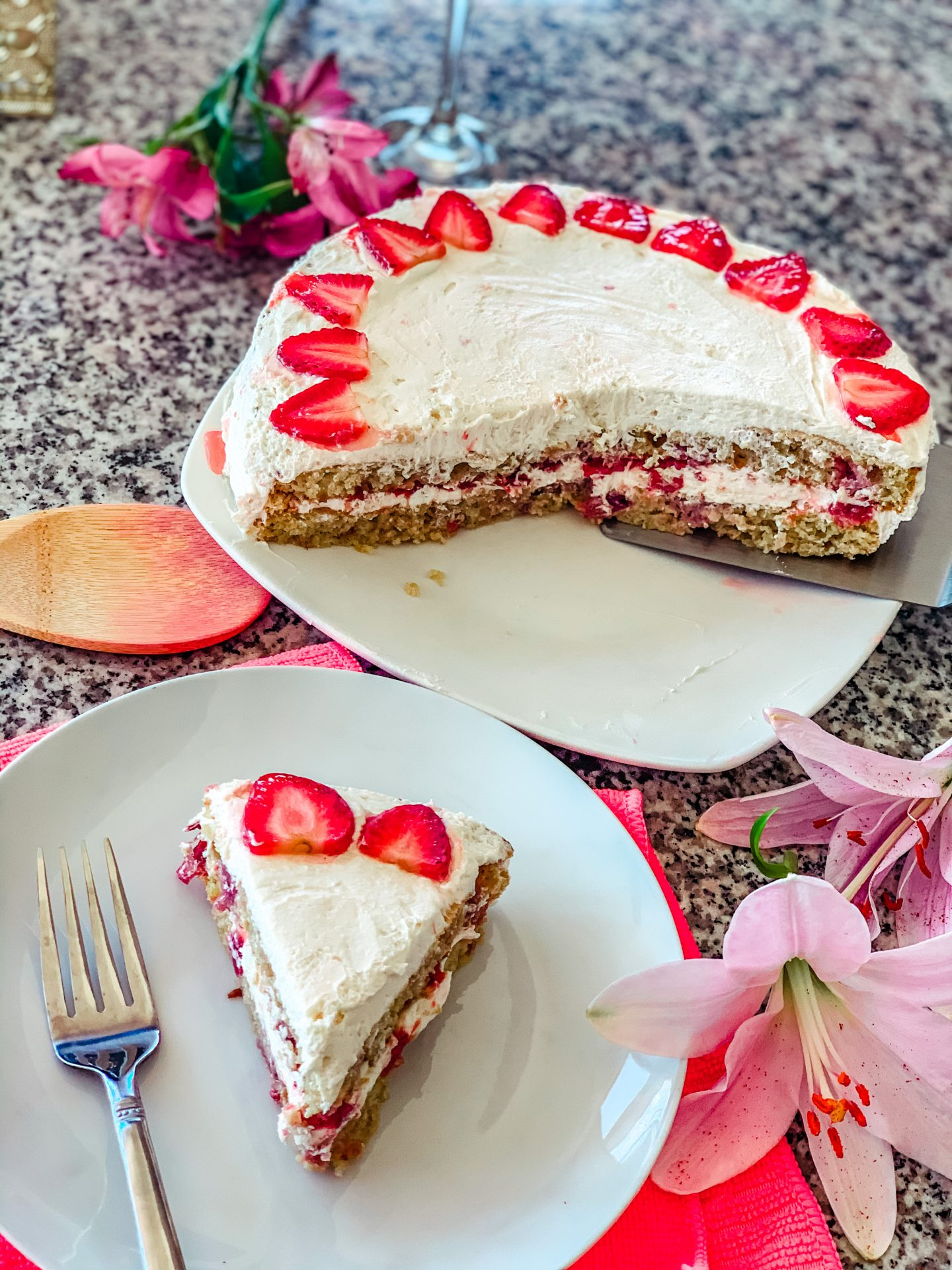 strawberry keto cake